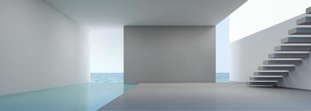 Vista mare che vive in interni moderni casa sulla spiaggia con piscina.