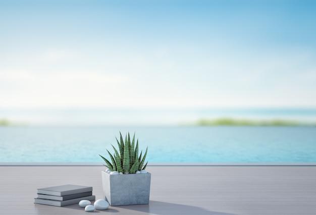 Vista mare piscina e terrazza in casa al mare di lusso con sfondo sfocato del cielo