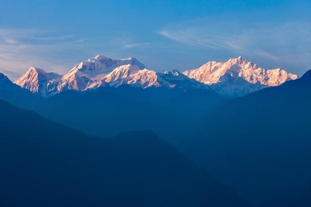 Vista montagna kangchenjunga