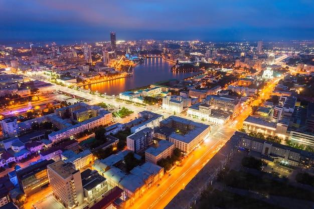 Vista panoramica aerea di ekaterinburg