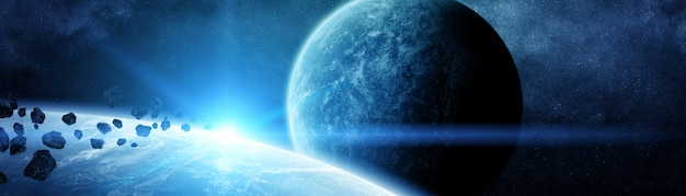 Vista panoramica dei pianeti nel sistema solare distante