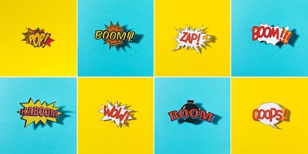 Vista panoramica dell'icona di esplosione comica sul reticolo di sfondo giallo e blu