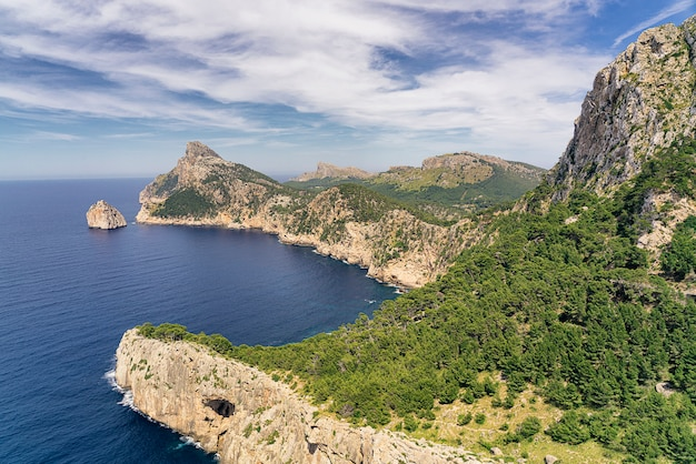 Vista panoramica di capo formentor dell'isola di maiorca