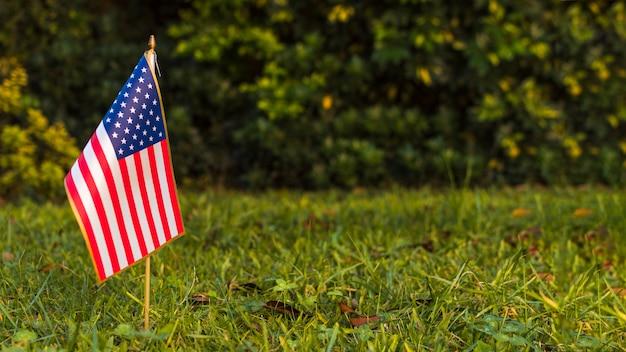 Vista panoramica di una bandiera americana degli sua su erba verde