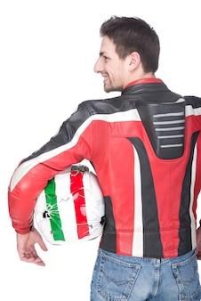Vista posteriore del motociclista motociclista in attrezzatura rossa.