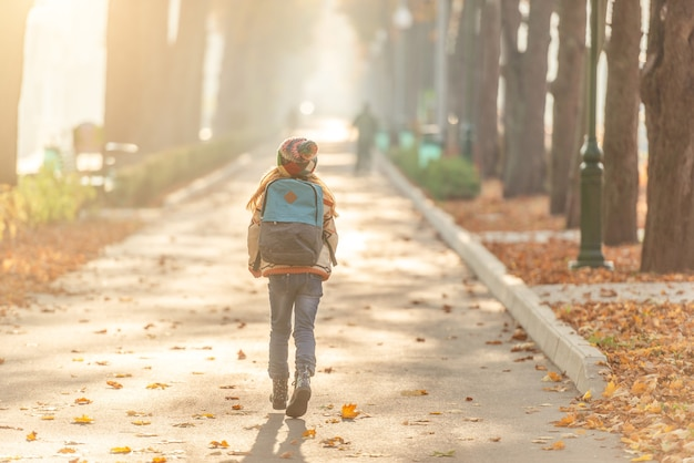 Vista posteriore del ragazzo della scuola in autunno parco