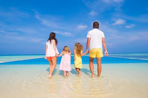 Vista posteriore della bella famiglia su una spiaggia durante le vacanze estive