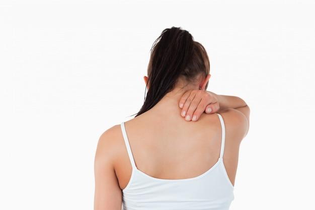 Vista posteriore della donna con dolore al collo