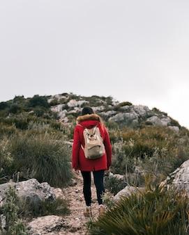 Vista posteriore della giovane donna che cammina sulla traccia di montagna con il suo zaino