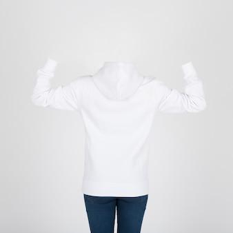 Vista posteriore di felpa bianca