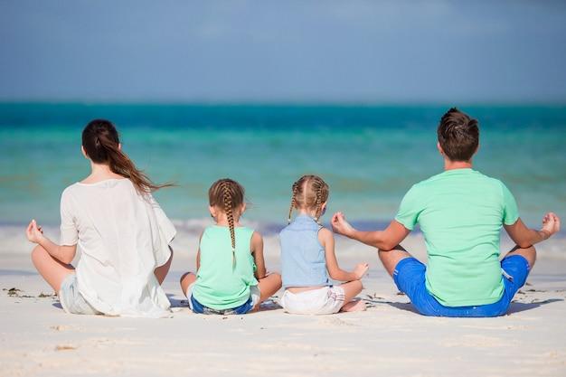 Vista posteriore di una famiglia felice sulla spiaggia tropicale