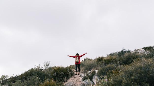Vista posteriore di una viandante femmina in piedi sulla cima della montagna tese le mani