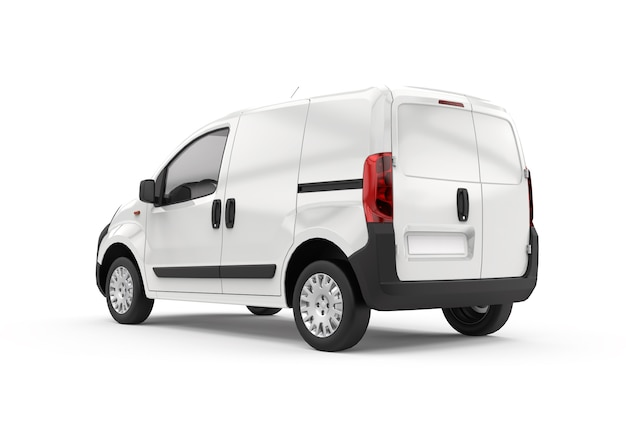 Vista posteriore e laterale di un furgone, mockup, illustrazione 3d