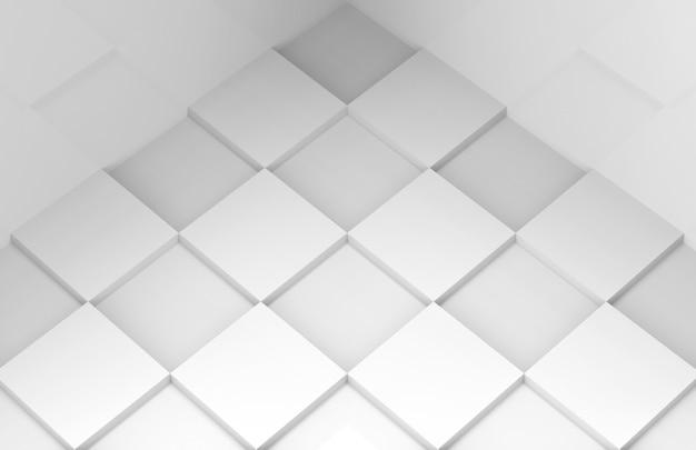 Vista prospettica del pavimento piastrellato di griglia quadrata bianca di stile minimal moderno