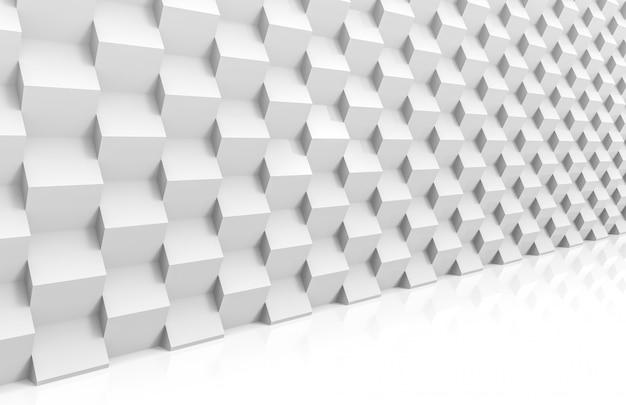 Vista prospettica della pila moderna astratta di muro di lusso bianco cubo scatole casuali