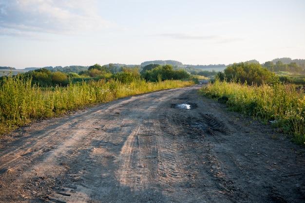 Vista prospettica di una strada di campagna a terra e campi e il bosco in lontananza all'alba.