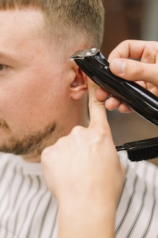 Vista ravvicinata del concetto di barbiere