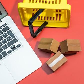 Vista ravvicinata del concetto di shopping online