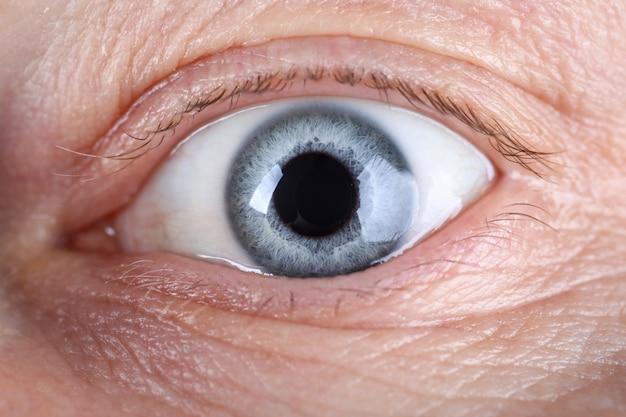 Vista ravvicinata dell'occhio maschile con un sacco di rughe intorno