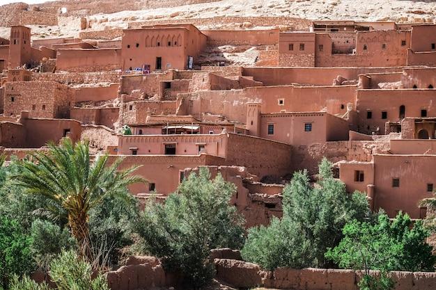 Vista ravvicinata di ksar ait benhaddou, ouarzazate, marocco.