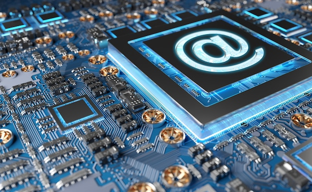 Vista ravvicinata di una moderna scheda gpu con icona email