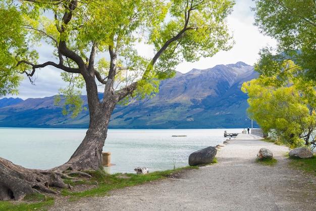 Vista scenica del lago wakatipu a glenorchy, isola del sud nuova zelanda, destinazioni turistiche concep