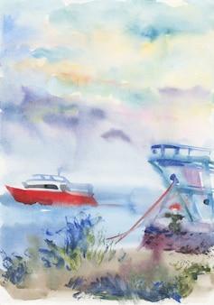 Vista sul mare dell'acquerello con la barca.