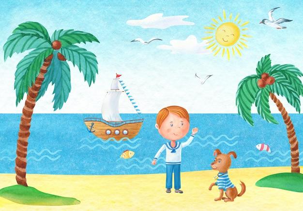 Vista sul mare dell'acquerello con un ragazzo e un cane su una spiaggia