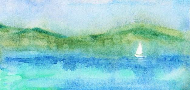 Vista sul mare dell'acquerello, vela e montagne.