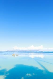Vista sul mare e cielo blu della piscina alla scena di giorno soleggiato con l'ombra della palma sull'acqua,
