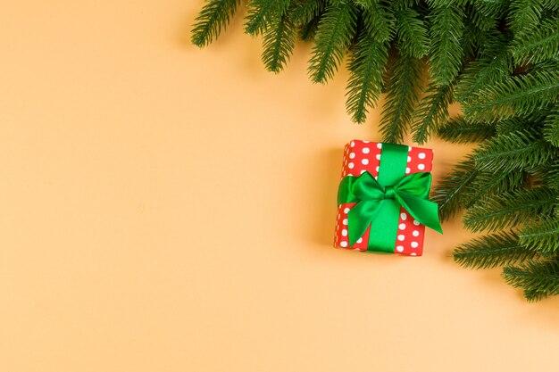 Vista superiore dei rami di abete e del contenitore di regalo su variopinto.