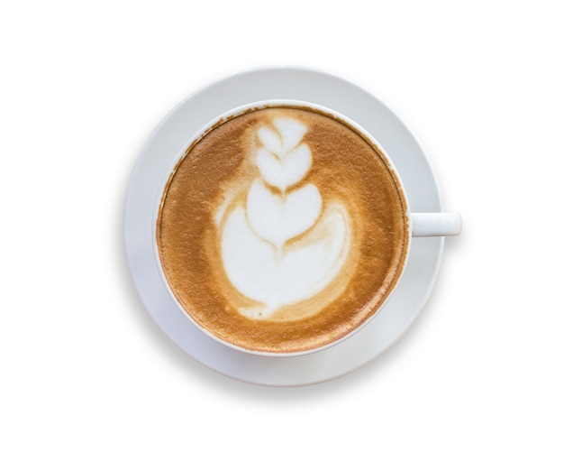Vista superiore del caffè caldo del latte in tazza bianca.