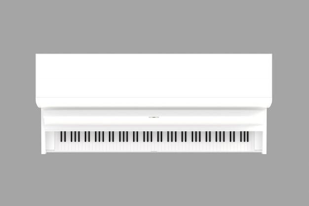 Vista superiore del piano bianco classico dello strumento musicale isolato, strumento della tastiera, rappresentazione 3d