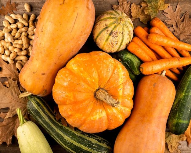 Vista superiore del raccolto variopinto di autunno