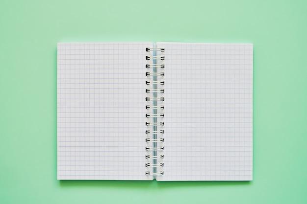 Vista superiore del taccuino aperto con pagine bianche, quaderno di scuola su uno sfondo verde, blocco note a spirale