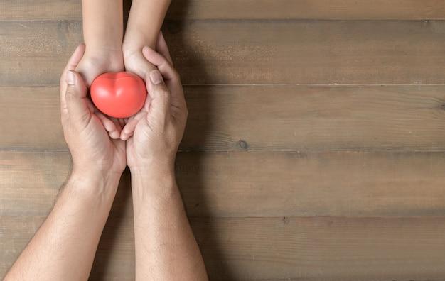 Vista superiore dell'adulto e del bambino che tengono cuore rosso in mano