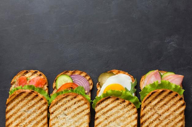 Vista superiore dell'assortimento degli aperitivi del panino