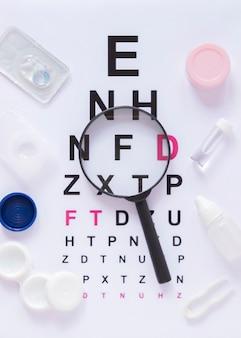 Vista superiore dell'esame di visione del diagramma di prova dell'occhio
