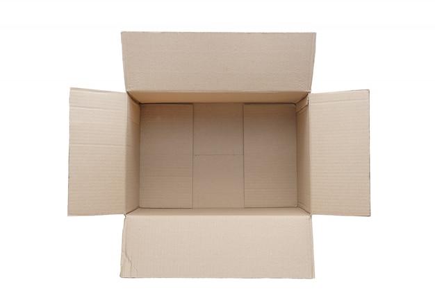 Vista superiore della scatola di cartone vuota isolato su priorità bassa bianca.