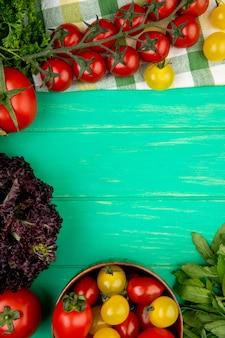 Vista superiore delle verdure come basilico verde del pomodoro delle foglie di menta su superficie verde con lo spazio della copia