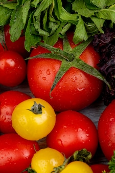Vista superiore delle verdure come foglie di menta e basilico verdi dei pomodori su superficie di legno