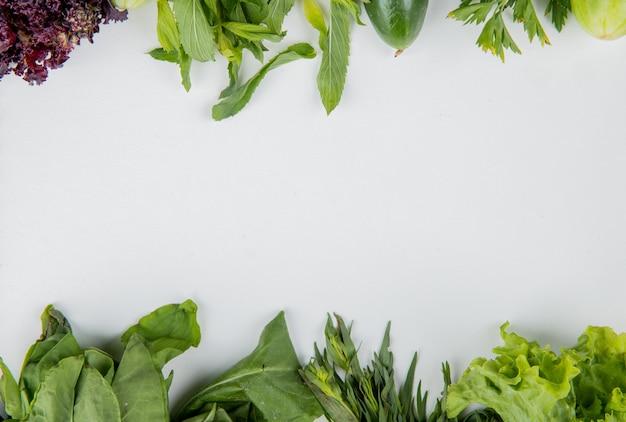 Vista superiore delle verdure come lattuga del cetriolo del basilico della menta degli spinaci su superficie bianca con lo spazio della copia