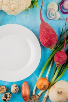 Vista superiore delle verdure come uovo di cipolla del ravanello con il piatto vuoto su fondo blu
