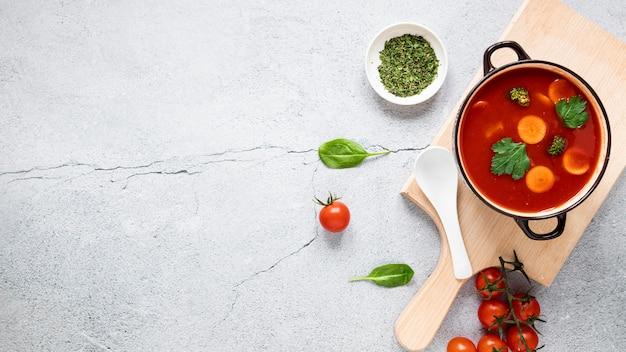 Vista superiore dello spazio della copia della minestra del pomodoro