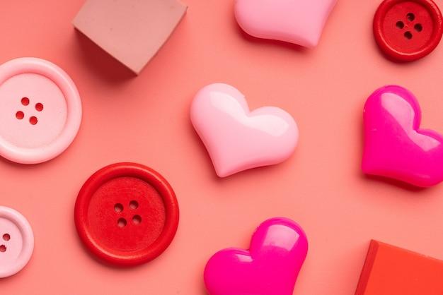 Vista superiore di anniversario, matrimonio e san valentino concetto