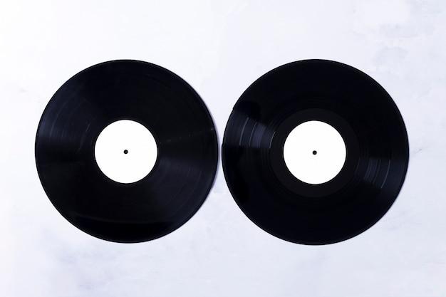 Vista superiore di dischi in vinile