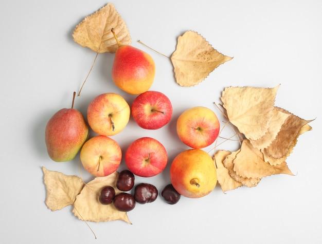 Vista superiore di natura morta di autunno. mele, pere, foglie cadute, castagne su un tavolo grigio