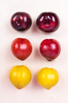 Vista superiore rossa, gialla della frutta della prugna sullo spazio bianco isolato