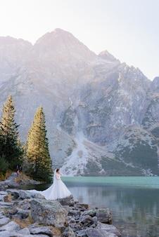 Vista verticale della minuscola sposa in montagna vicino al lago, in piedi sulle rocce