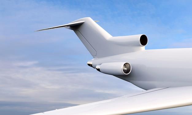 Vista vicina 3d dell'aeroplano che sorvola il cielo nuvoloso